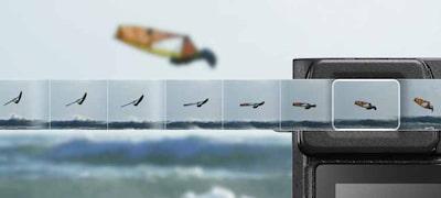 11snímok/s (Hi+) pri sériovom snímaní a8snímok/s (Hi) pri sériovom snímaní vrežime Live View